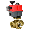 Electric Actuated Brass 3-Way Ball Valves - Multi-Voltage